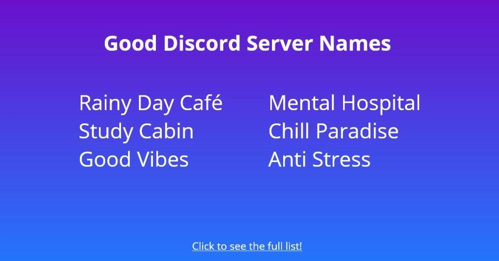 Good Discord Server Names