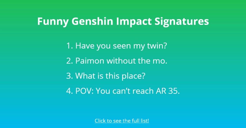Funny Genshin Impact Signatures