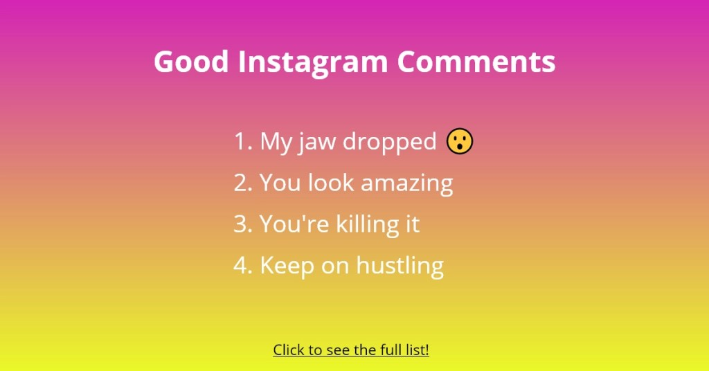 Good Instagram Comments