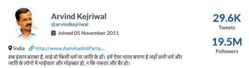 Arvind Kejriwal Twitter profile