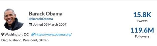 Obama Twitter profile