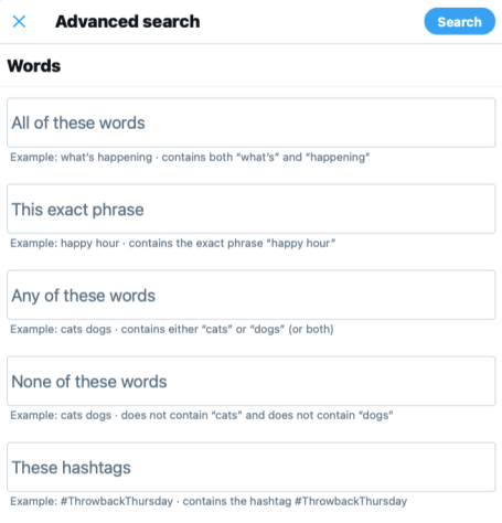audit your Twitter account with Twitter advanced search