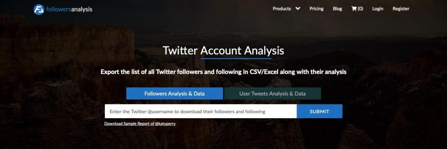 FollowersAnalysis homepage screenshot