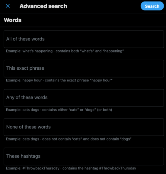 search tweets with Twitter advanced search