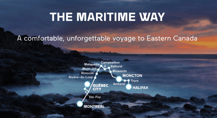 Train Across Canada Routes and maps for the maritime way train trip across canada