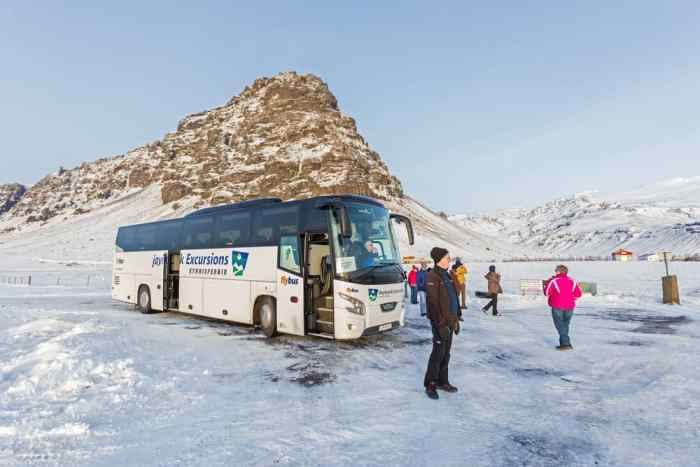 tour bus in iceland with tour group