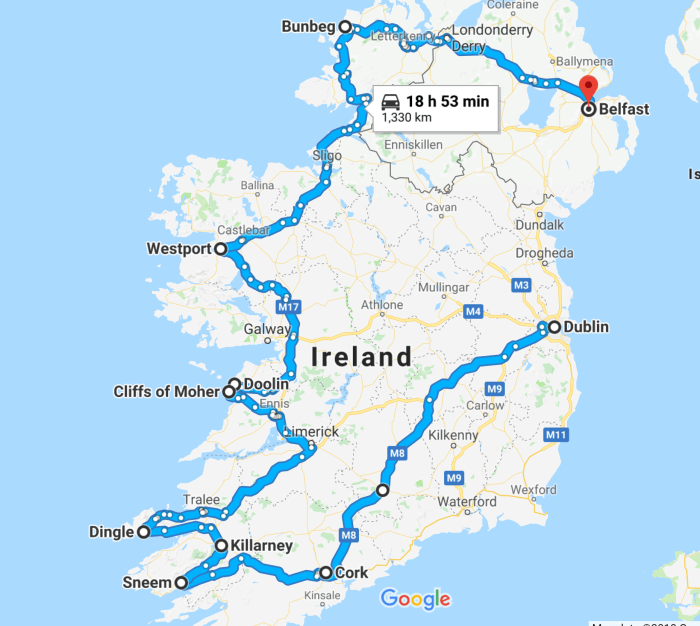 A map of your Ireland road trip itinerary