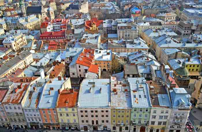 Lviv Ukraine town square in Europe