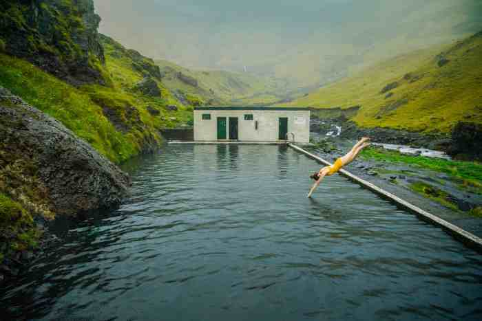 Diving into Seljavallalaug swimming pool in Iceland | Iceland hot springs | where to swim in Iceland for free