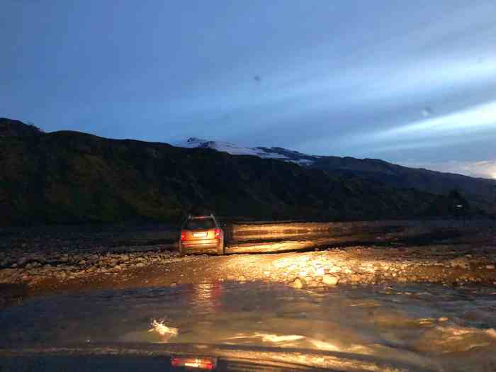 A stalled car at night in Thorsmork Iceland