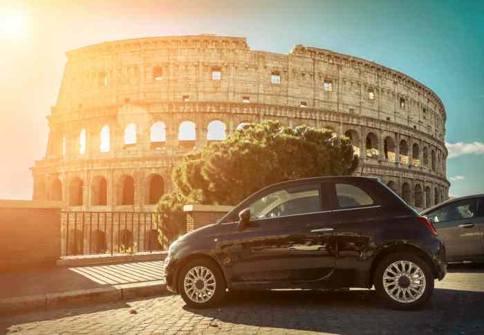 car in Rome Italy during sunset