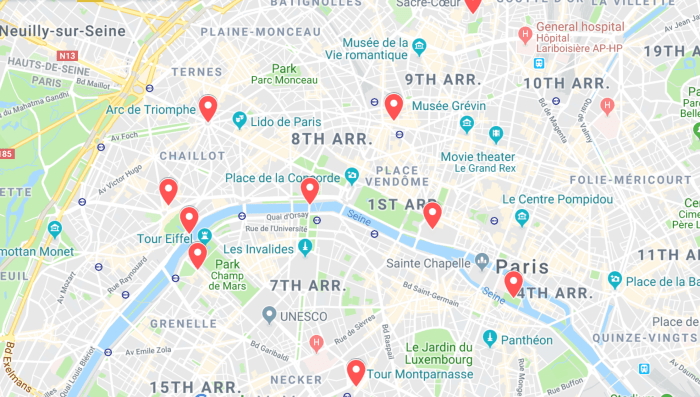Map Of The Best Paris Sunset Locations