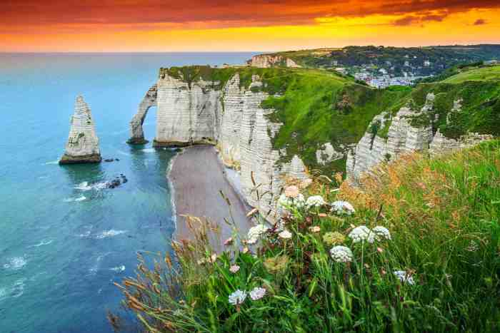 Sunset on Etretat in Northern France