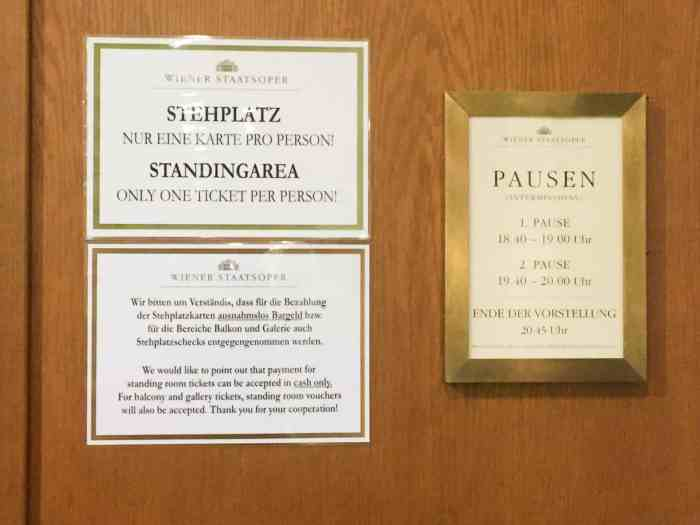 You Must Pay For Your Vienna Opera Ticket In Cash