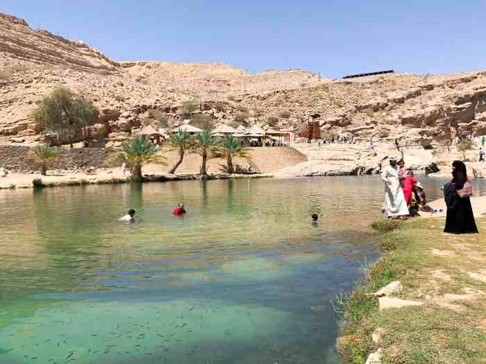 Locals swimming at Wadi Bani Khalid