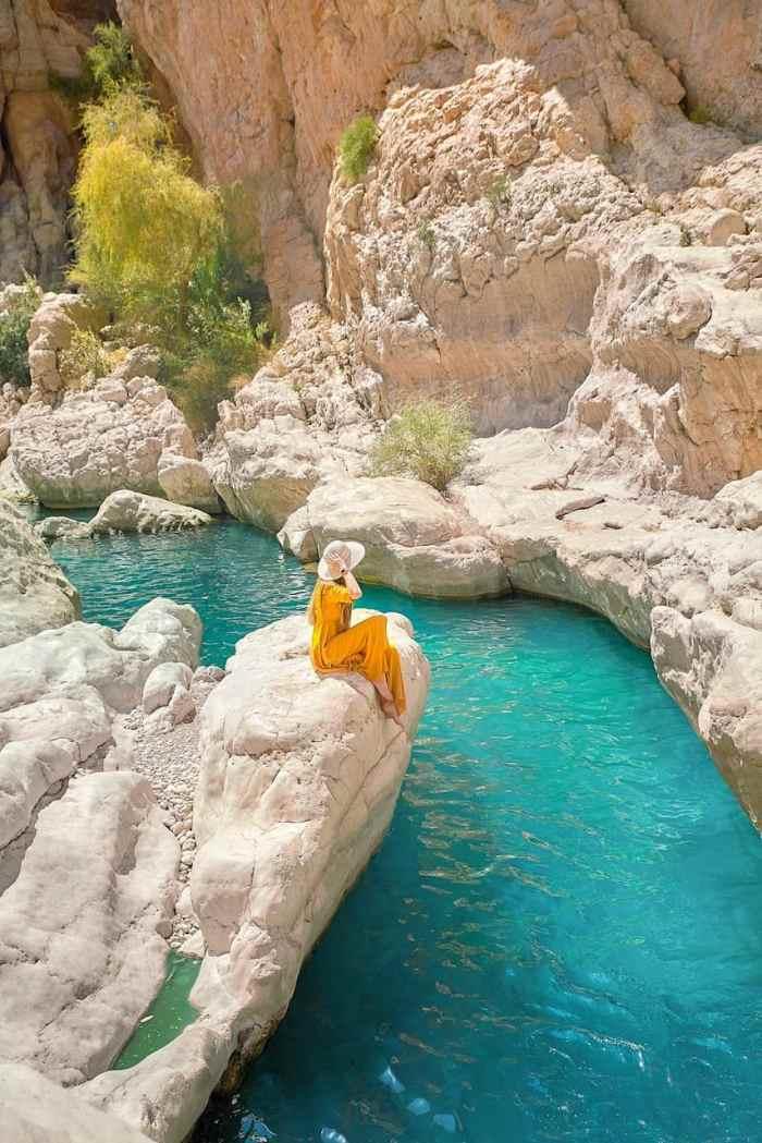 Beautiful blue pools at Wadi Bani Khalid in Oman