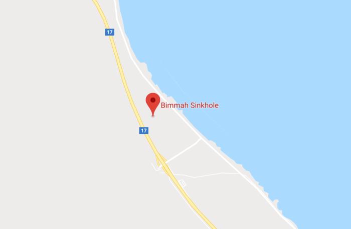 Google maps location of Bimmah Sinkhole in Oman