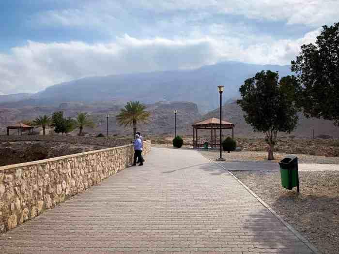 Walkway around the wall surrounding Bimmah Sinkhole