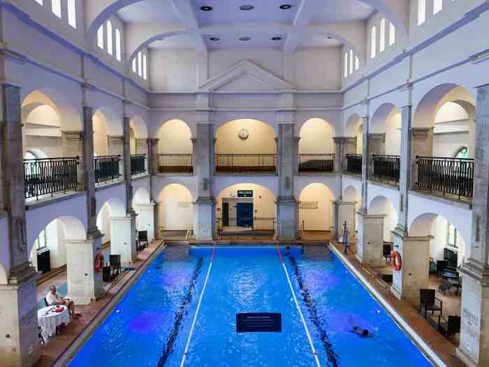 the main swimming pool at Rudas Baths in Budapest from above