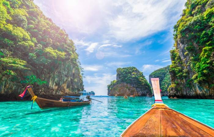 Phi Phi Islands with boat in Thailand