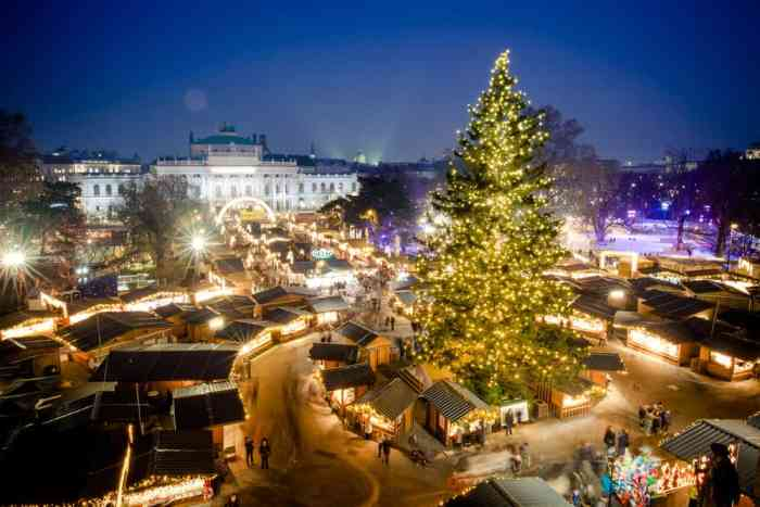 Christmas markets in Austria, a beautiful view of lights and booths in Vienna