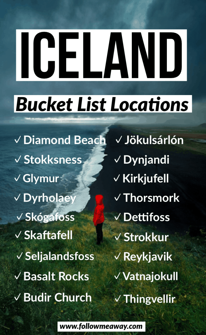 iceland bucket list locations road trip
