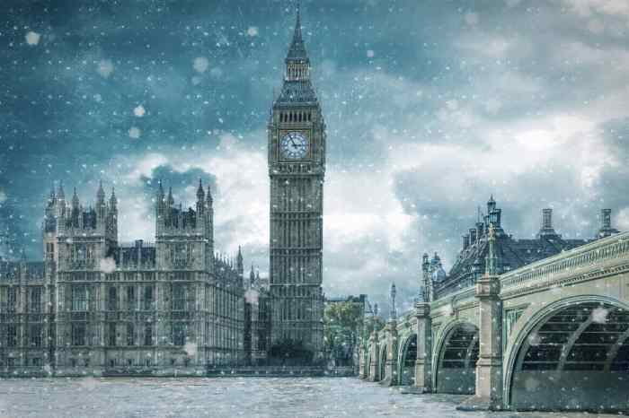 London in winter, a view of Big Ben and Westminster bridge
