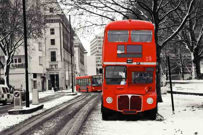 London in winter, double-decker bus in the snow