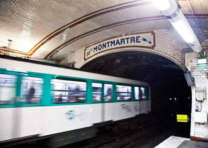 Paris metro station in Montmartre interior