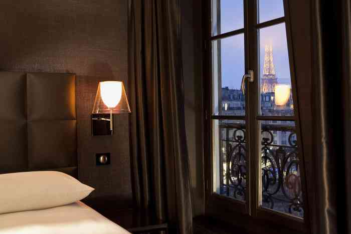 First Hotel Paris offers balcony Eiffel Tower views