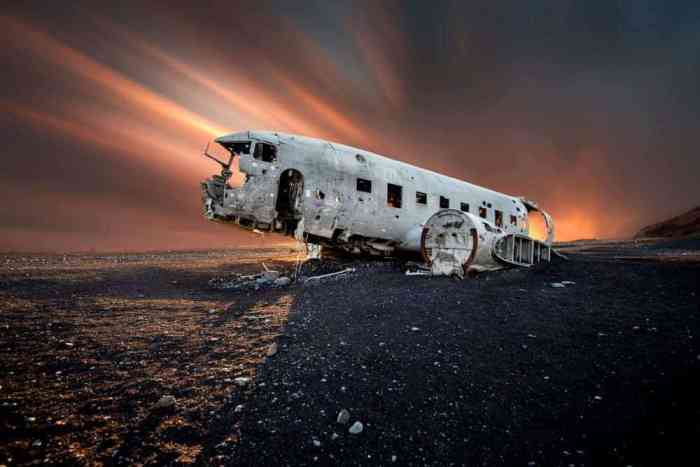 dramatic colorful skies over the Iceland plane crash