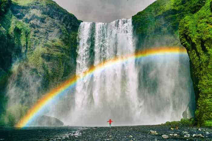rainbow over Skogafoss waterfall in South Iceland