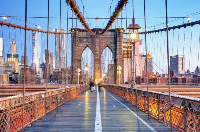 A view on the Brooklyn Bridge, a great spot to visit on your trip to see New York in a day!