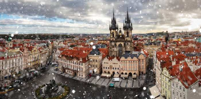 You can expect a bit of snow in Prague in winter