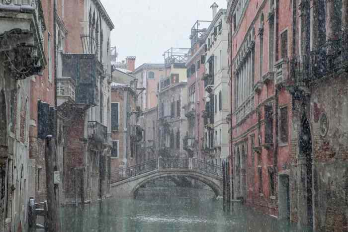 Snow on the Canals in Venice in Winter