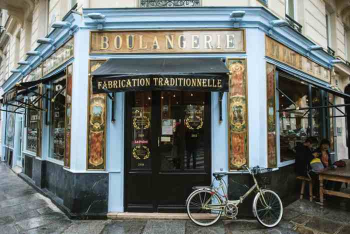 exterior of blue Parisian cafe with bike