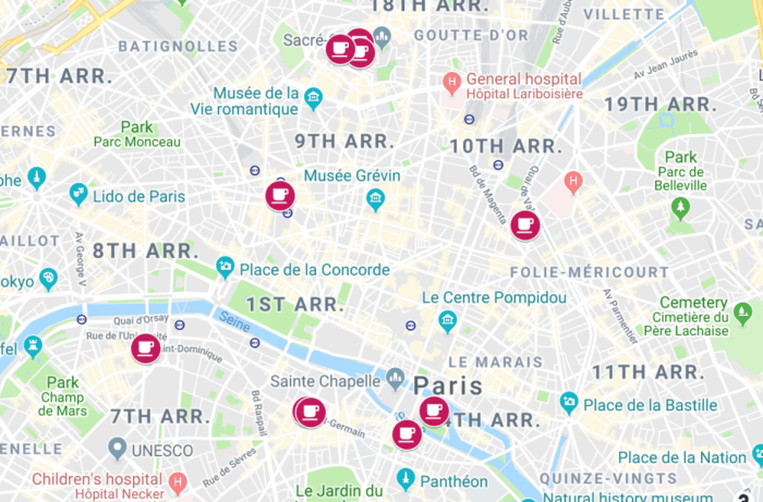 map of the best cafes in Paris with locations
