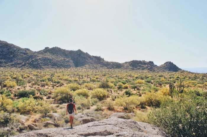 Granite Mountain Trail view from Balanced Rock on one of the best hikes in Phoenix