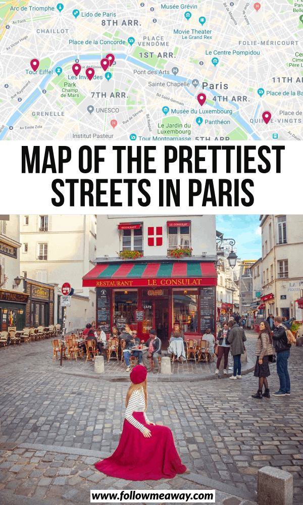 map of the prettiest streets in paris