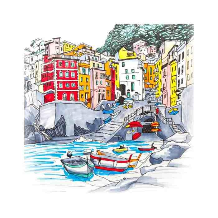 hand drawn illustration of Cinque Terre