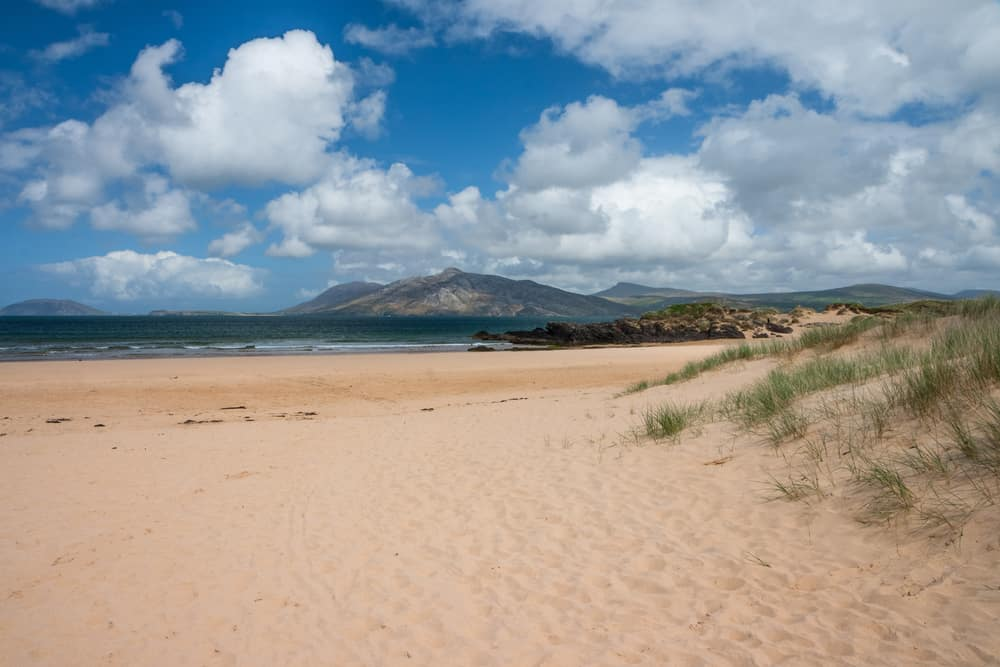 Portsalon beach with sand dunes for beaches in Ireland