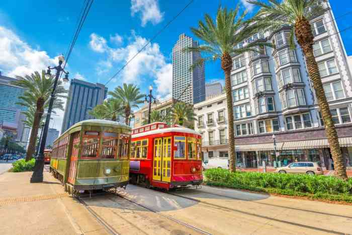 Canal Street with streetcars in New Orleans