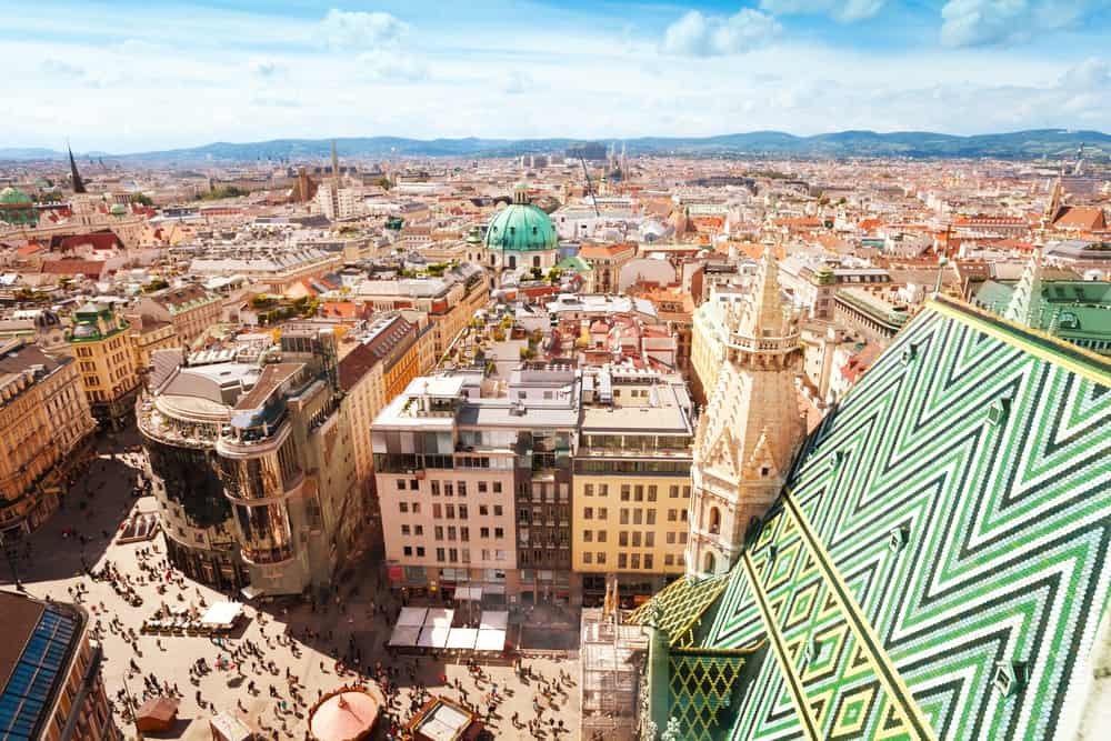 Read more to find out where to stay in Vienna and see this amazing view from St. Stephen's Cathedral!