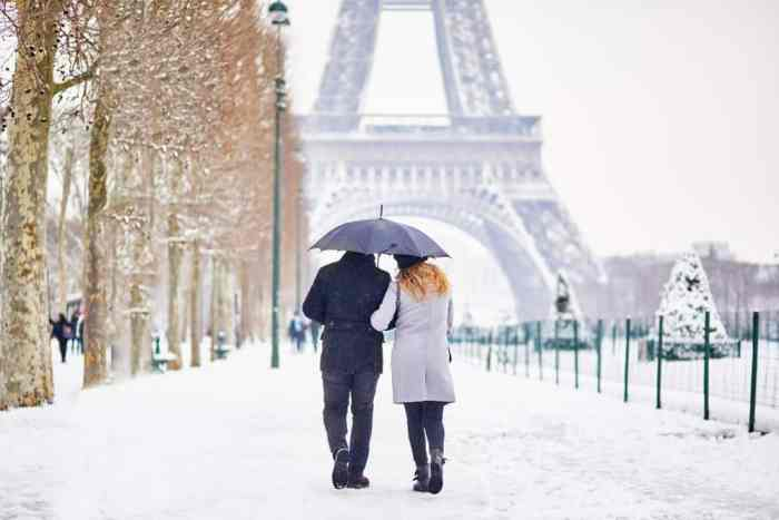couple on their honeymoon in Paris walking in snow
