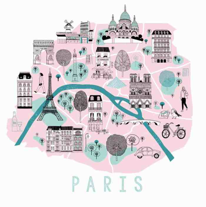 hand drawn map of Paris