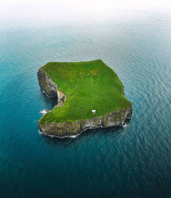 drone view of the westman islands