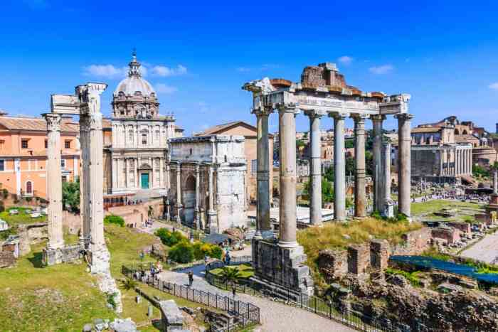 The Roman Forum is full of ancient Roman Ruins but is still beautiful.