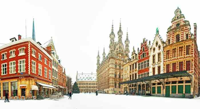 The snow capped town of Leuven is the perfect backdrop for any Christmas market