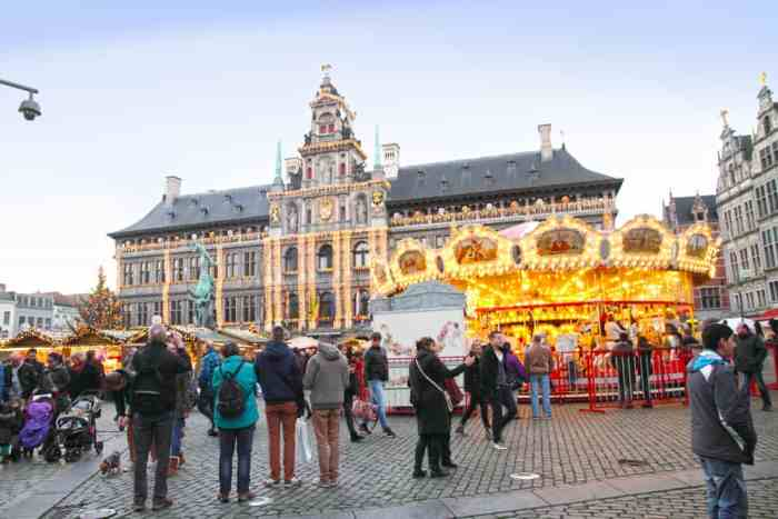 The Christmas market of Antwerp is quaint but still draws crowds with its Christmas lights and decor