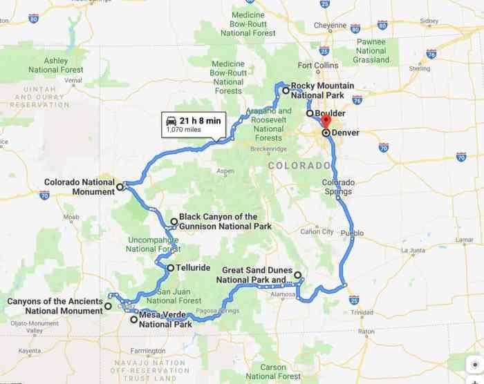 the Google Maps Colorado road trip route